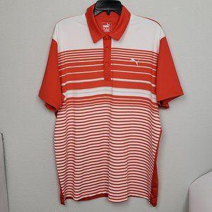 Puma orange white striped golf polo size XL